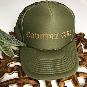GREEN + GOLD GLITTER COUNTRY GIRL HAT
